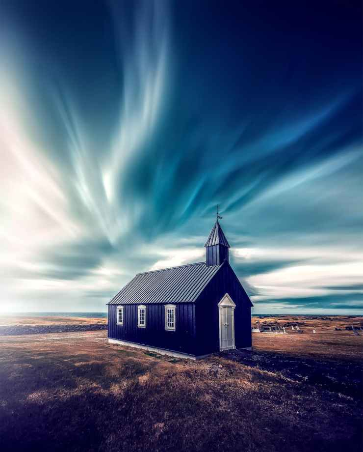 blue and white chapel